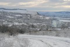 Overzicht dorp in de winter